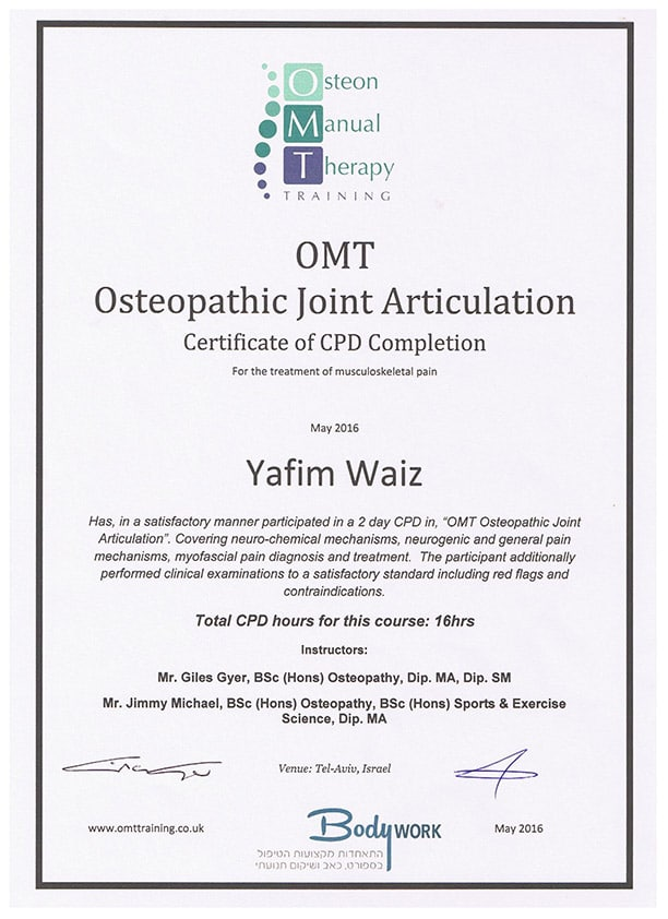 יפים וייץ OMT Joint Articulation